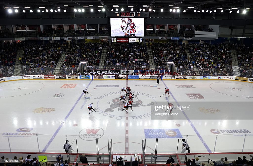 The opening face-off at the Meridian Centre during the OHL game between the Belleville Bulls and the Niagara Ice Dogs at the Meridian Centre on October 16, 2014 in St Catharines, Ontario, Canada.