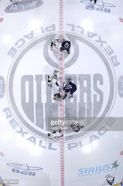 The opening faceoff during Sidney Crosby of the Pittsburgh Penguins' first game ever against the Edmonton Oilers at Rexall Place on December 5 2007...