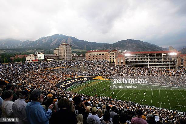 The opening kickoff between the Colorado State University Rams and the University of Colorado Buffaloes on September 4 2004 at Folsom Field in...