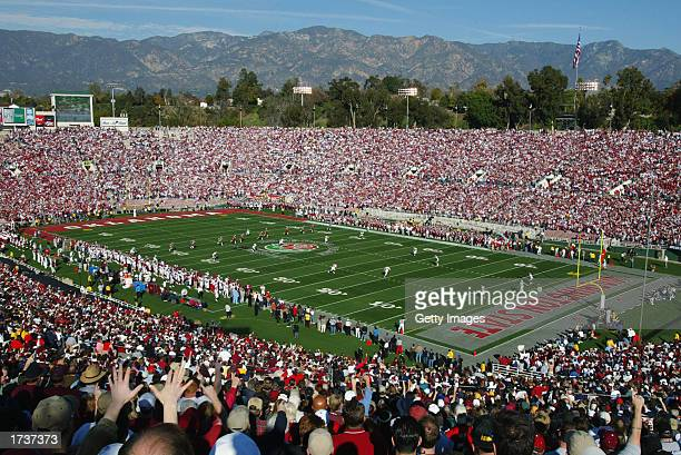 The opening kickoff of the 89th Rose Bowl between the Washington State Cougars and the Oklahoma Sooners on January 1 2003 at the Rose Bowl in...