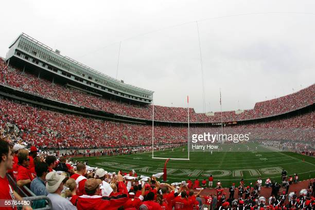 The opening kickoff takes place between Iowa and Ohio State during the first quarter on September 24 2005 at Ohio Stadium in Columbus Ohio Ohio State...