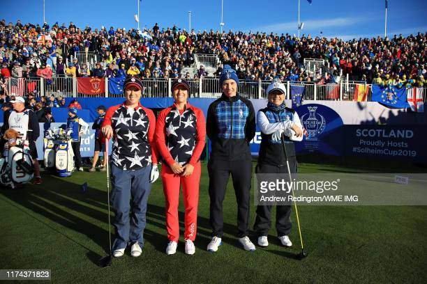 The opening matchup of Morgan Pressel Marina Alex both of Team USA Carlota Ciganda and Bronte Law both of Team Europe pose for a photo on the first...