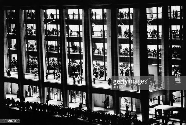 The opening night of the Philharmonic Hall at the Lincoln Center New York City NY as seen from the outside November 1962