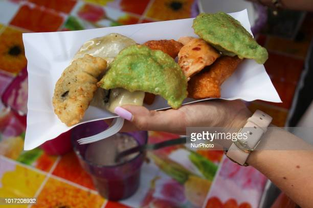 The opening of the 16th Annual Pierogi Festival in Krakow's Small Square in Krakow Poland on 15 August 2018 Each year local pierogi producers...