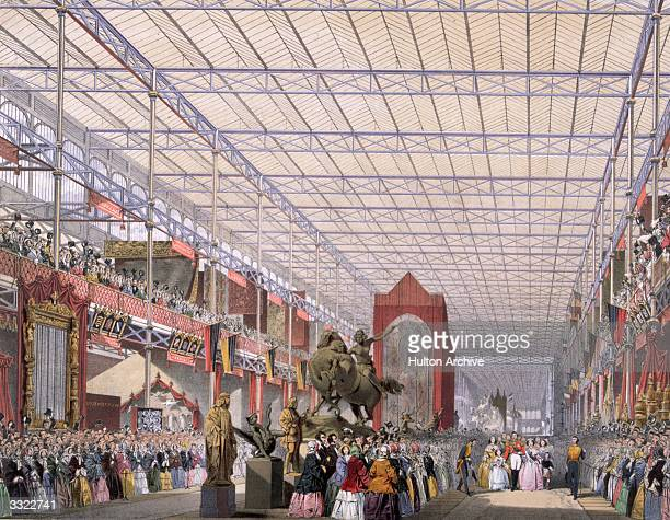 The opening of the Great Exhibition in Crystal Palace the glass and iron building designed by Joseph Paxton at Hyde Park London Interior of the...