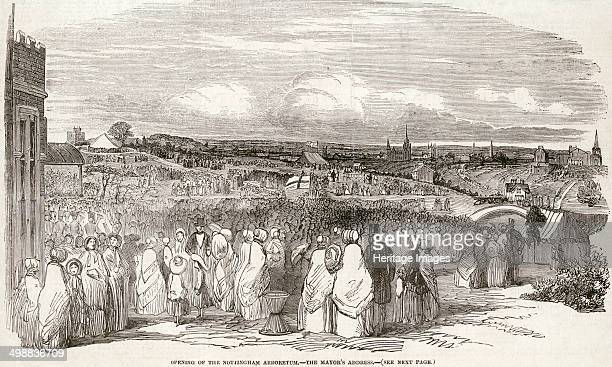 The opening of the Nottingham Arboretum Nottinghamshire May 1852 Showing the arboretum as it looked when it was newly built Looking from the...