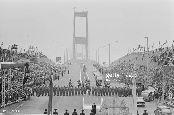 The opening of the Severn Bridge between South Gloucestershire in England and Monmouthshire in South Wales, 8th September 1966. Queen Elizabeth II...