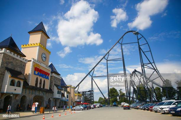 The opening of the tallest and fastest Mega Roller Coaster in Europe 'Hyperion' in Energylandia Amusement Park in Zator Poland on 14 July 2018...