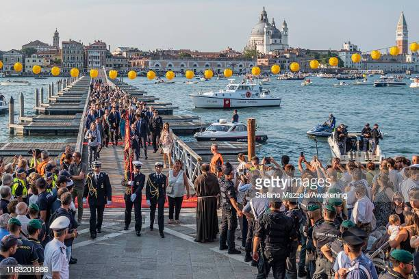 The opening of the Votive bridge is seen during the Redentore Celebrations on July 20 2019 in Venice Italy Redentore which is in remembrance to the...