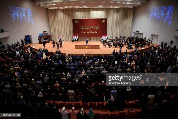 The opening session of New Iraqi Parliament held at the Parliament Building on September 03, 2018 in Baghdad, Iraq. The newly-seated Iraqi Parliament...