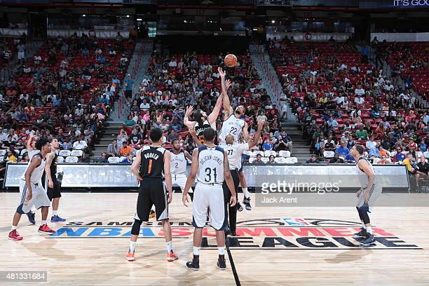 The opening tip between Josh Harrellson of the Phoenix Suns and Khem Birch of the New Orleans Pelicans on July 19 2015 at the Thomas Mack Center in...