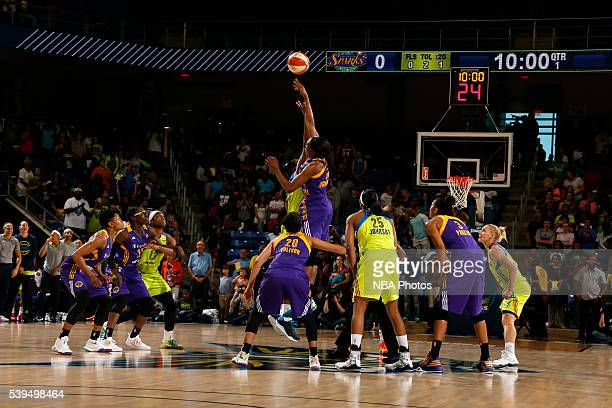 The opening tip between the Los Angeles Sparks and Dallas Wings on June 11 2016 at College Park Center in Arlington Texas NOTE TO USER User expressly...