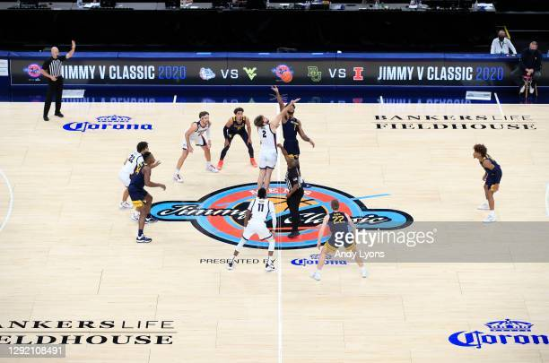 The opening tip of the Gonzaga Bulldogs against the West Virginia Mountaineers during the Jimmy V Classic at Bankers Life Fieldhouse on December 02,...