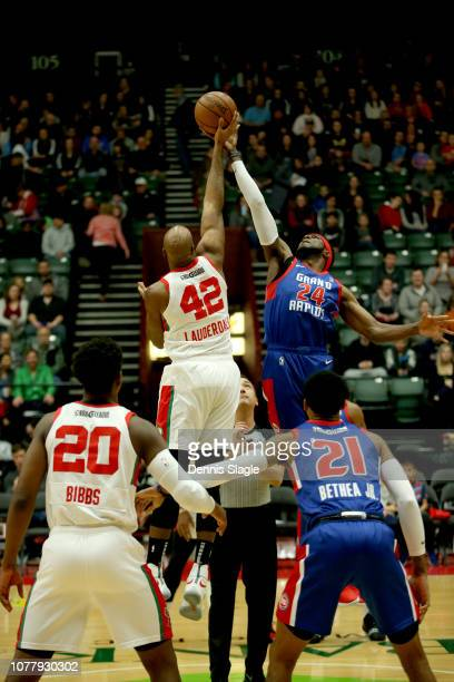 The opening tip off at the Grand Rapids Drive vs Maine Red Claws game at The DeltaPlex Arena for the NBA GLeague on JANUARY 2019 in Grand Rapids...