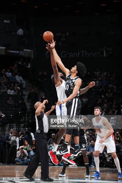 The opening tip off begins between Jarrett Allen of the Brooklyn Nets and DeAndre Jordan of the LA Clippers on February 12 2018 at Barclays Center in...