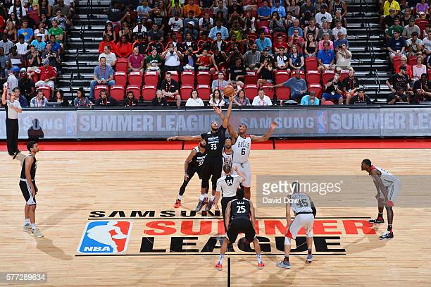 The opening tip off between Adreian Payne of the Minnesota Timberwolves and Christiano Felicio of the Chicago Bulls during the 2016 NBA Las Vegas...