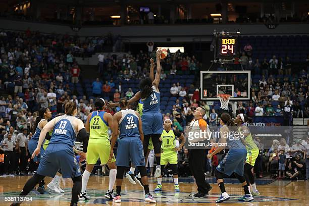 The opening tip off between the Dallas Wings and Minnesota Lynx on June 4 2016 at Target Center in Minneapolis Minnesota NOTE TO USER User expressly...