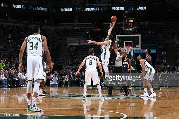 The opening tip off between the Indiana Pacers and the Milwaukee Bucks on November 3 2016 at the BMO Harris Bradley Center in Milwaukee Wisconsin...