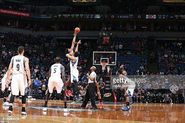 The opening tip off between the Los Angeles Clippers and Minnesota Timberwolves on March 30 2016 at Target Center in Minneapolis Minnesota NOTE TO...