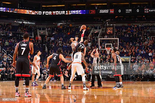 The opening tip off between the Phoenix Suns and the Toronto Raptors on February 2 2016 at Talking Stick Resort Arena in Phoenix Arizona NOTE TO USER...