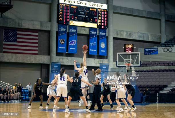 The opening tip off during the Division III Women's Basketball Championship held at the Mayo Civic Center on March 17 2018 in Rochester Minnesota