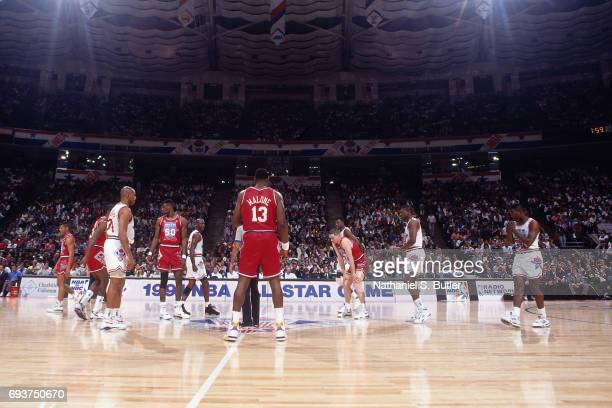 The opening tip off of the 1991 NBA AllStar Game on February 10 1991 at the Charlotte Coliseum in Charlotte North Carolina NOTE TO USER User...
