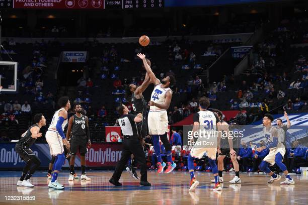 The opening tip-off between DeAndre Jordan of the Brooklyn Nets and Joel Embiid of the Philadelphia 76ers on April 14, 2021 at Wells Fargo Center in...