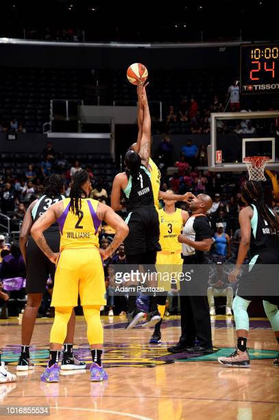 The opening tipoff between the Los Angeles Sparks and the New York Liberty on August 14 2018 at Staples Center in Los Angeles California NOTE TO USER...