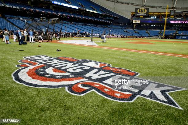 The Opening Week logo adorns the field prior to the start of the Opening Day game between the Tampa Bay Rays and the New York Yankees on April 2 2017...