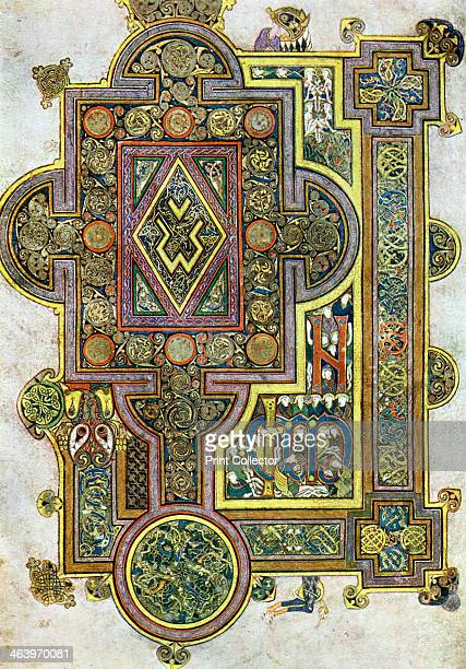 The Opening Words of St Luke's Gospel 800 AD A 20thcentury copy of the illustrated manuscript produced by Celtic monks around AD 800 Illustration...