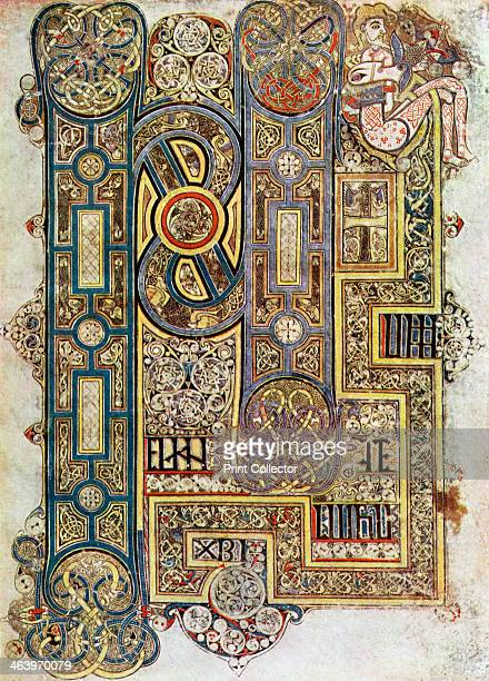The Opening Words of St Mark's Gospel, 800 AD, . A 20th-century copy of the illustrated manuscript, produced by Celtic monks around AD 800....