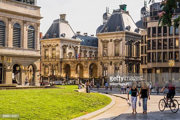 the opera and the hotel de ville - ローヌ県 ストックフォトと画像