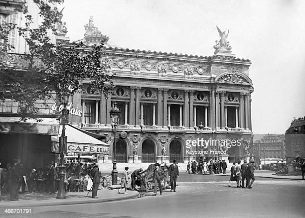 The Opera house and the 'Cafe de la Paix' in 1929 in Paris France
