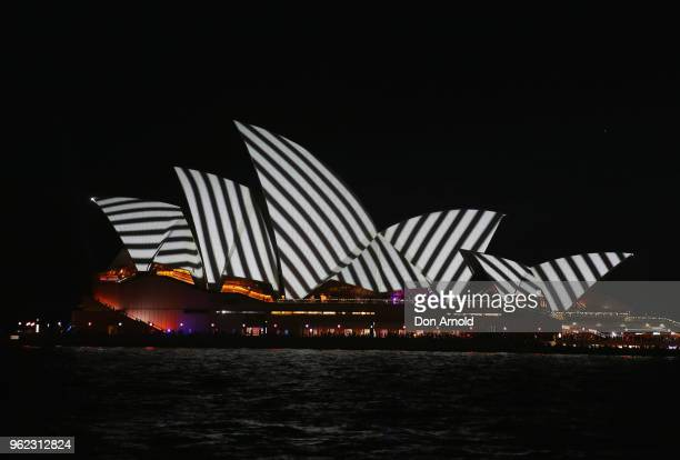 The Sydney Opera House is seen illuminated as part of Vivid Sydney Light Festival on May 25 2018 in Sydney Australia Vivid Sydney is an annual...