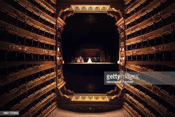 The opera La Cenerentola by Gioachino Rossini staged at La Scala Theatre. Milan, 1974.