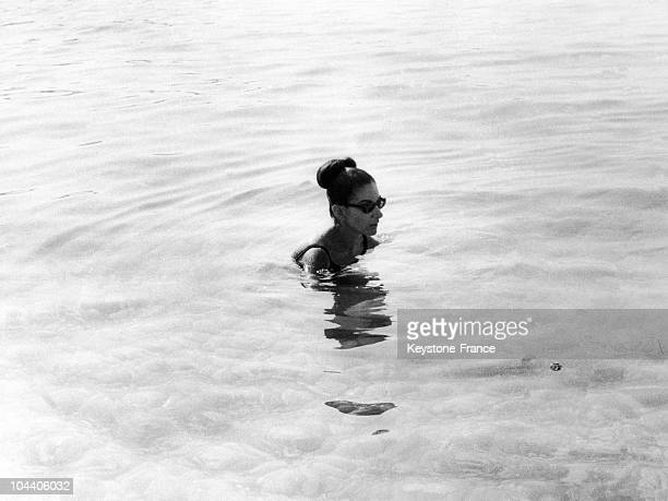 The opera singer Maria CALLAS swimming in the Mediterranean Sea while on holiday in Monte Carlo