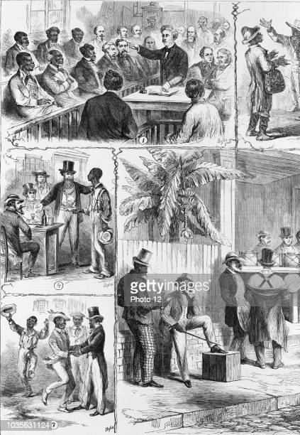 The operations of the registration laws and Black suffrage in the South, from sketches by artist James E. Taylor 1839-1901, Published: 1867. Eight...