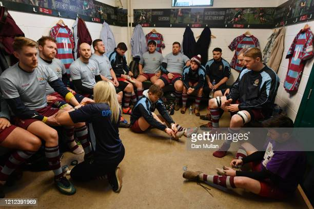 The OPM players gather in the changing room prior to the Lockie Cup Semi Final match between Old Plymouthian and Mannameadians and Plymstock Albion...