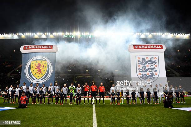 The opposing team line up for the anthems prior to kickoff during the International Friendly match between Scotland and England at Celtic Park...