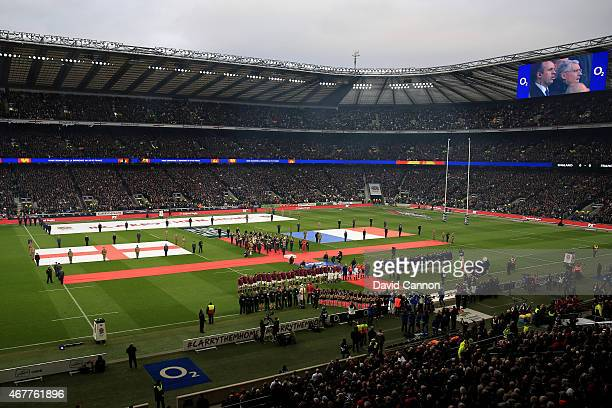 The opposing teams lineup for the national anthems prior to kickoff during the RBS Six Nations match between England and France at Twickenham Stadium...