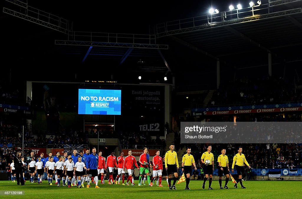 The opposing team's walk out onto the pitch prior to kickoff during the EURO 2016 Qualifier match between Estonia and England at A. Le Coq Arena on October 12, 2014 in Tallinn, Estonia.