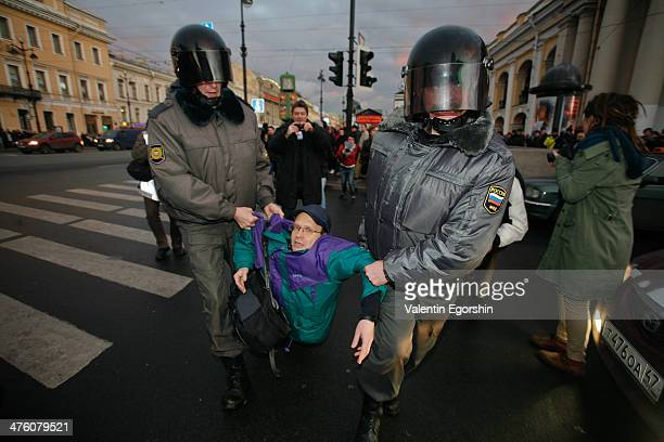 """The opposition action """"Strategy 31"""" at Nevsky prospect in St. Petersburg. Strategy-31 is a series of civic protests in support of the right to..."""