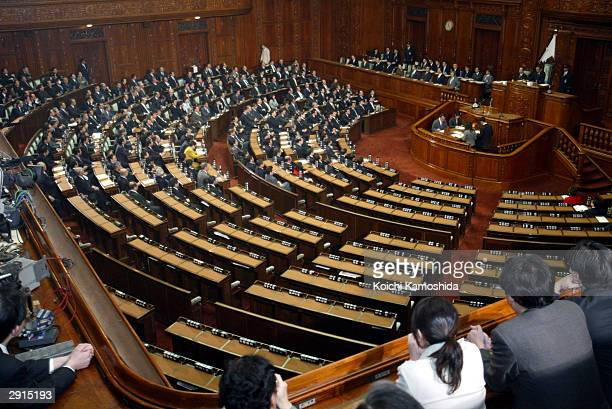 The opposition lawmakers are being absent from the voting during a midnight plenary session of the Lower House at Parliament on January 31 2004 in...