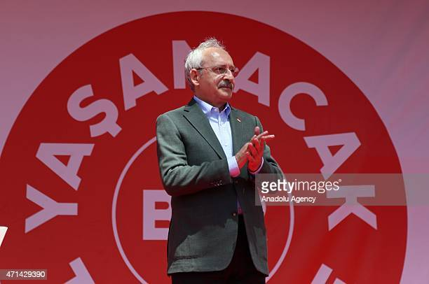 The opposition Republican People's Party leader Kemal Kilicdaroglu greets the supporters during a rally in Nigde Turkey on April 28 2015