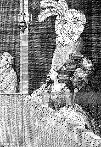 'The Optic Curls' 18th century Gentleman theatre goers use one of their female companion's elaborate curls as opera glasses Illustration from Social...