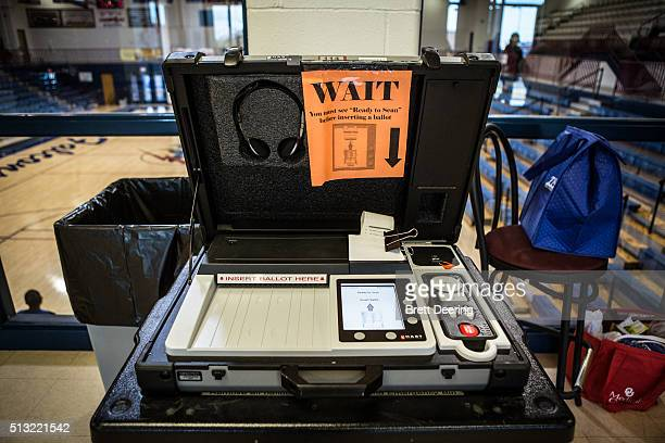The optical scanning machine at the Millwood High School Field House on Super Tuesday March 1 2016 in Oklahoma City Oklahoma voters head to the polls...
