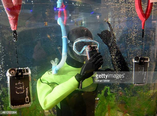 The Optrix by Body Glove is displayed underwater at the 2015 International CES at the Las Vegas Convention Center on January 8 2015 in Las Vegas...