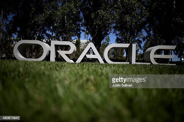 The Oracle logo is displayed in front of the Oracle headquarters on June 19, 2014 in Redwood Shores, California. Oracle will report fourth quarter...