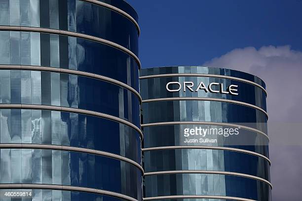 The Oracle logo is displayed on the exterior of the Oracle headquarters on December 16 2014 in Redwood City California Oracle will report second...