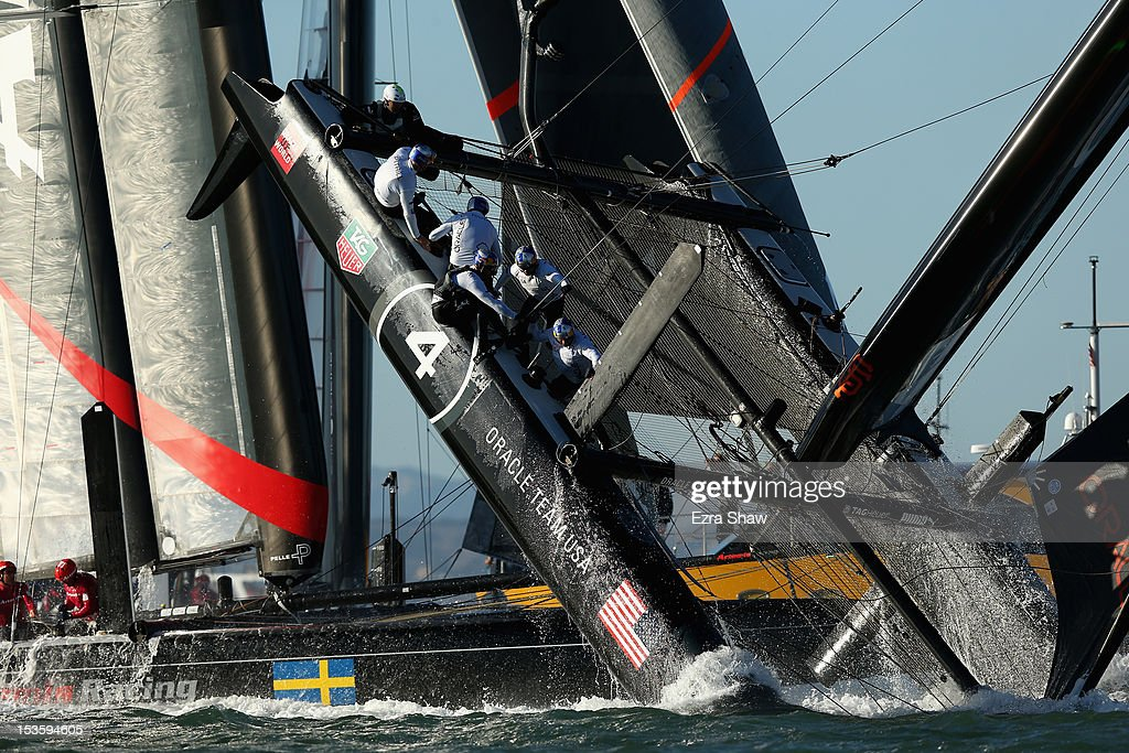 The Oracle Team USA skippered by James Spithill flips over during a fleet race in the America's Cup World Series on October 6, 2012 in San Francisco, California. Teams are racing on an AC45 boat, which is the forerunner to the AC72 that teams will race next year in the Louis Vuitton Cup and America's Cup Finals in San Francisco.